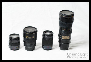 Standard versus m43 Lenses (L-R) Panasonic 12-35 f/2.8, Nikon 17-55 f/2.8, Panasonic 35-100 f/2.8, Nikon 70-200 f/2.8